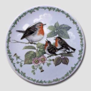 Nature's Children plate, Robins, Royal Copenhagen