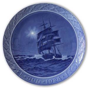 Schooner at sea Christmas night 1924, Royal Copenhagen Christmas platee | Year 1924 | No. RX1924 | Alt. 1901024 | DPH Trading