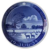 Copenhagen deer park with herimitage 1934, Royal Copenhagen Christmas plate