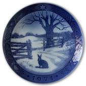 Hare in winter 1971, Royal Copenhagen Christmas plate