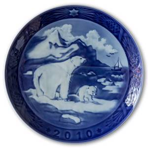 Christmas in Greenland with Polar bears 2010, Royal Copenhagen Christmas plate | Year 2010 | No. RX2010 | Alt. 1901110 | DPH Trading