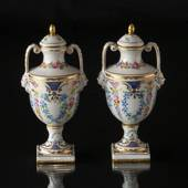 Dresden Jars with lids (set) 19th century handpainted
