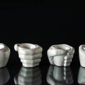 "Egg cup, ""hand"" set of 4 pcs. white"