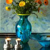 1999 Scandia Tin candlestick, flax flower
