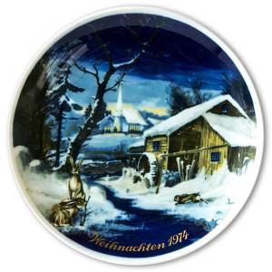 1974 Tettau traditional Christmas plate with German text (Weihnachten)