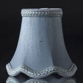 Hexagonal lampshade with curves height 12 cm, light blue silk fabric