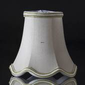 Hexagonal lampshade with curves height 12 cm, covered with off white chintz...