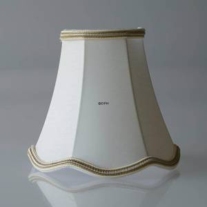 Octagonal lampshade with curves height 13 cm, covered with off white chintz fabric | No. U130815U3584R | DPH Trading