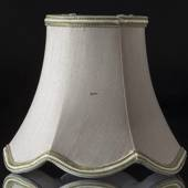 Octagonal lampshade with curves height 14 cm covered with off white silk fa...