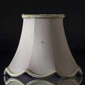 Octagonal lampshade with curves height 16 cm covered with off white silk fa...