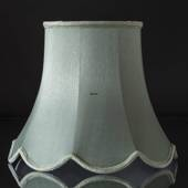 Octagonal lampshade with curves height 18 cm, light green coloured silk fab...