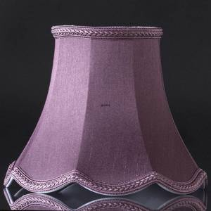 Octagonal lampshade with curves height 18 cm, purple/dark rose coloured silk fabric | No. U181222D0400R | DPH Trading