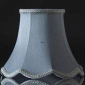 Octagonal lampshade with curves height 18 cm, light blue silk fabric