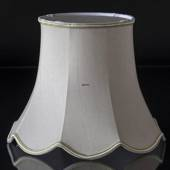 Octagonal lampshade with curves height 24 cm covered with off white silk fa...