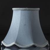 Octagonal lampshade with curves height 26 cm, light blue silk fabric
