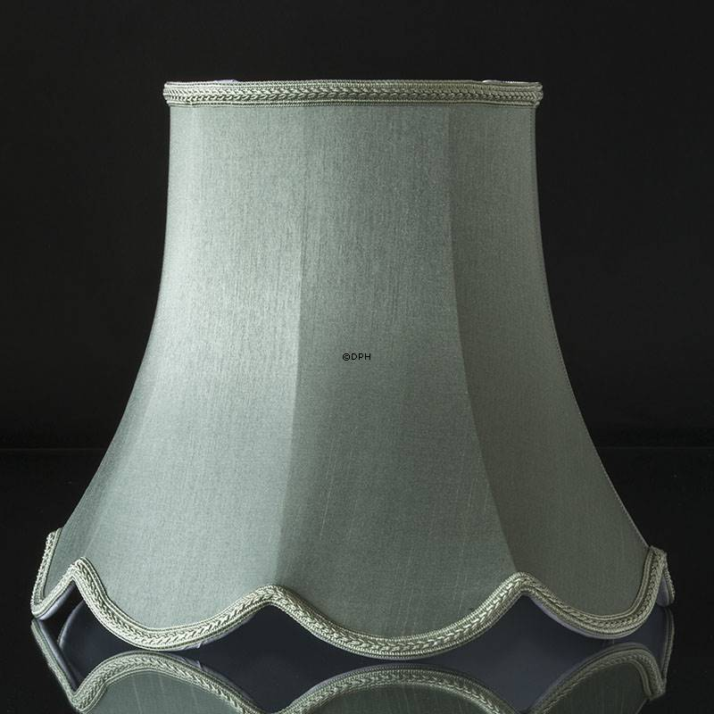 Octagonal Lampshade With Curves Height 30 Cm Light Petrol Green Coloured