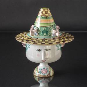 Wiinblad Vase with Hat hand painted, multi colour | No. V-52-M | DPH Trading
