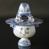 Wiinblad Vase with Hat hand painted, blue/white