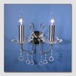 """Queen"" 2-arm Steel Wall-lamp with Crystals"
