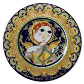 Bjorn Wiinblad Christmas plate 1978 Angel with Harp