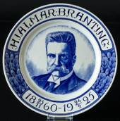 "Plate with ""Hjalmar Branting 1860-1925"""