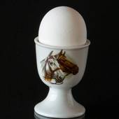 Strömgarden egg cup with horse heads, brown and dapple grey