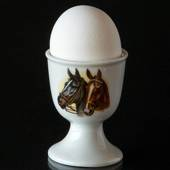 Strömgarden egg cup with horse heads, brown and black