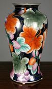 Chinese vase with flowers and fruits