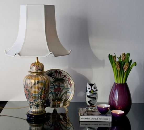Hexagonal lampshade with turned up corners