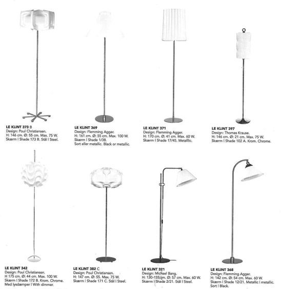 Le Klint Overview of Floor Lamps