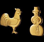 Georg Jensen Christmas Tree candleholder - Rooster and Snowman