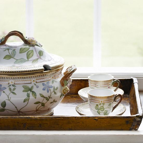 Flora Danica cups and tureen Royal Copenhagen