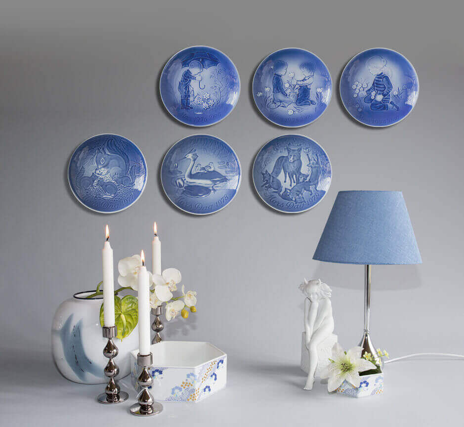 Blue Danish Mother's Day Plates