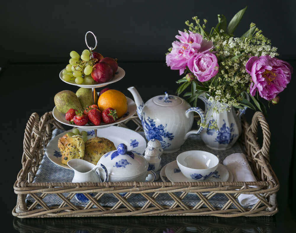 Centerpiece from Blue Flower of Royal Copenhagen on tray