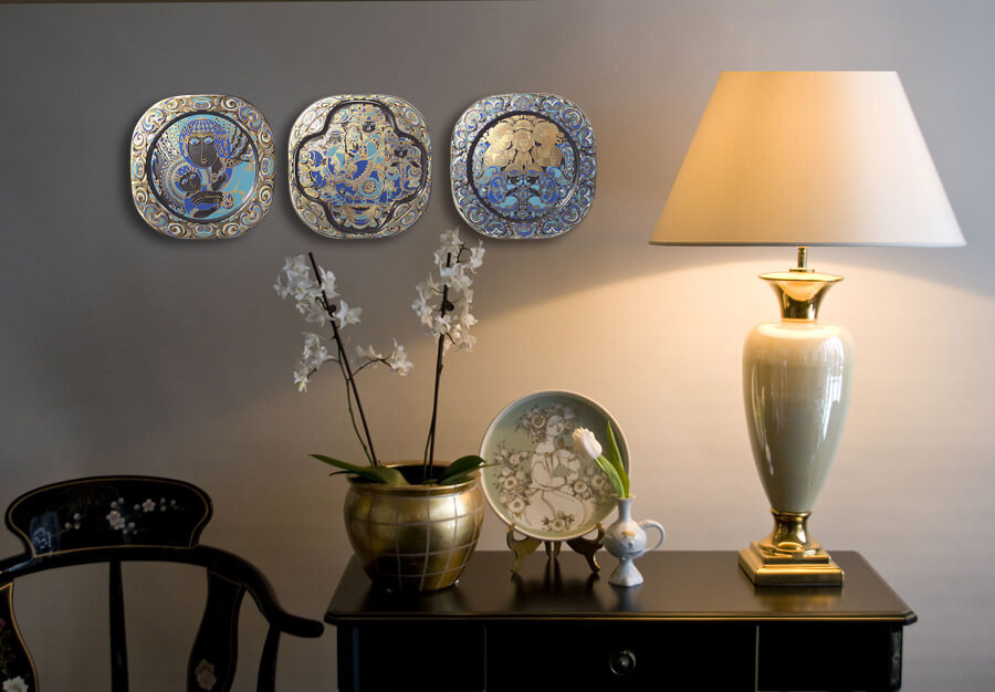 Wall decoration with Bjorn Wiinblad plates