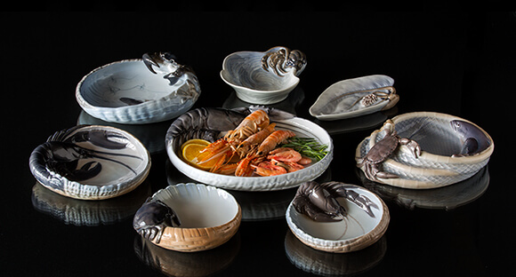 Dishes with marine motifs