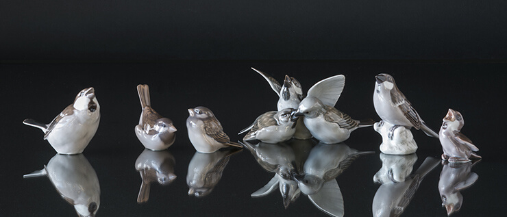 Sparrow figurines from Bing & Grondahl and Royal Copenhagen