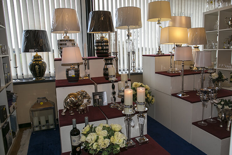 Tablelamps in chrome and glass