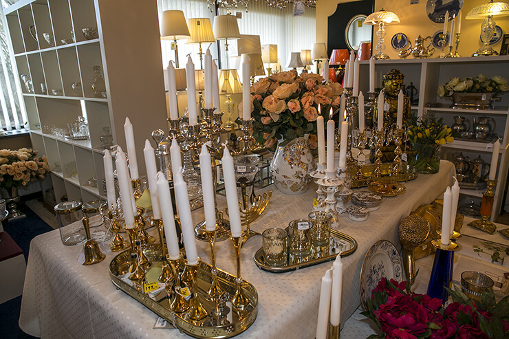 Candleholders with gold and silver coating