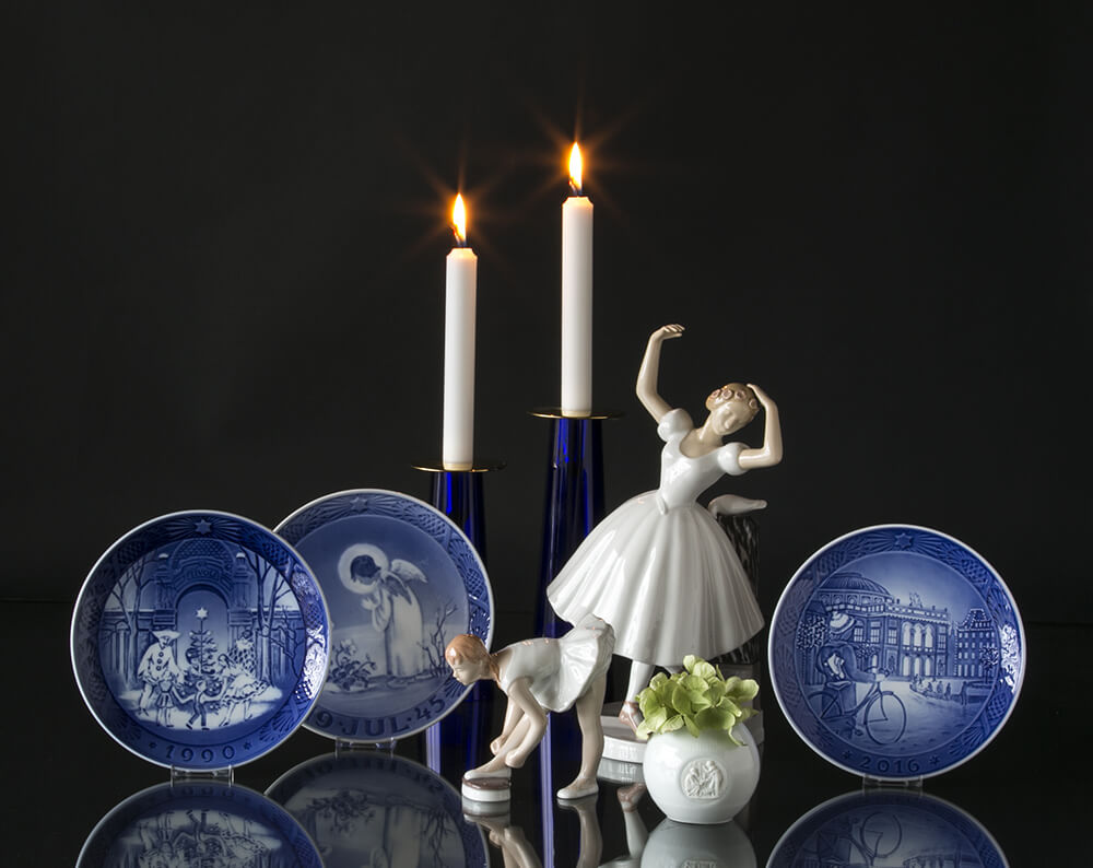 Christmas plates, Asmussen Candlesticks and ballerina figurines