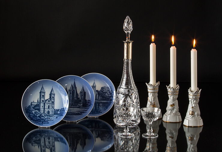 Church plates with the three wise men candlesticks and crystal decanter