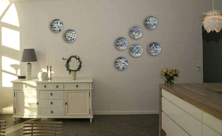 Christmas plates on the wall
