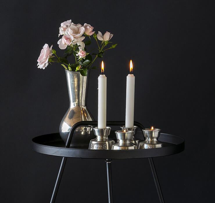 Pewter tin Candleholder and tin vase