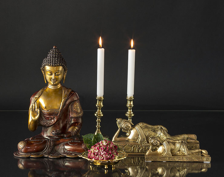 Sitting Buddha with lying Nirvana Buddhas and Brass Candleholders
