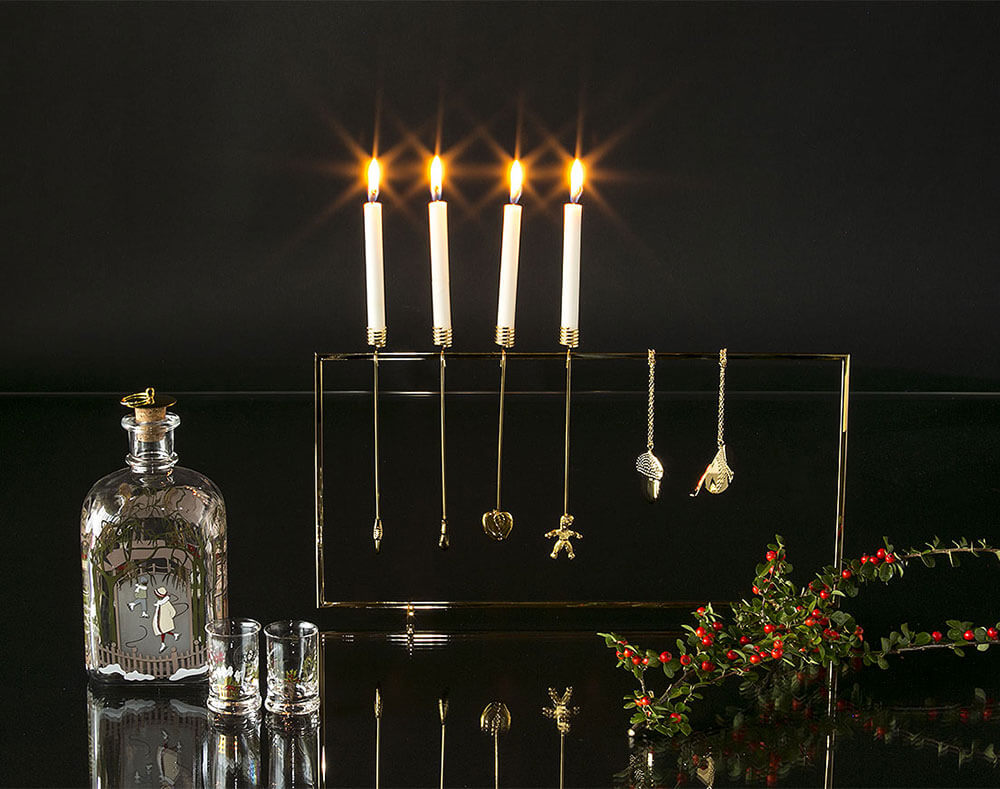 Georg Jensen Christmas display with candleholders, ornaments and Christmas bottle from Holmegaard