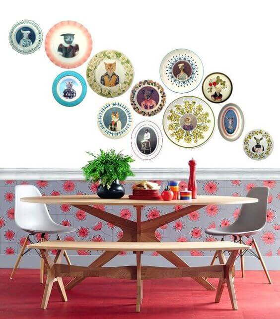 Colorful plates in colorful design