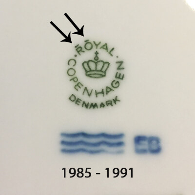Royal Copenhagen markings 1985-1991