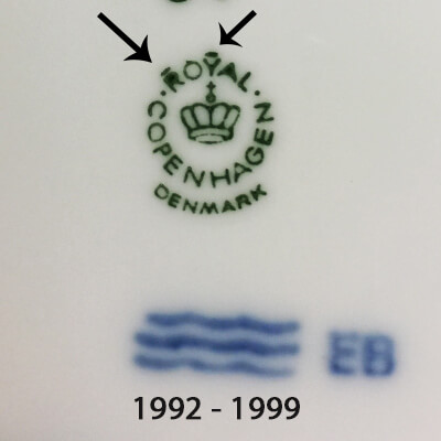 Royal Copenhagen markings 1992-1999