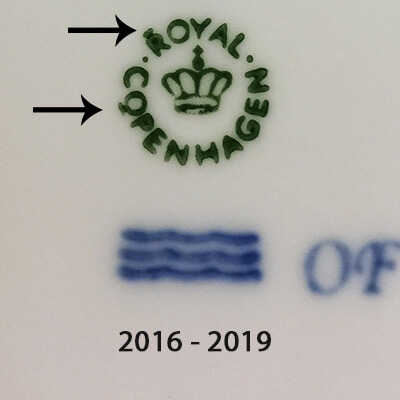 Royal Copenhagen markings 2016-2019