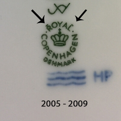Royal Copenhagen markings 2005-2009